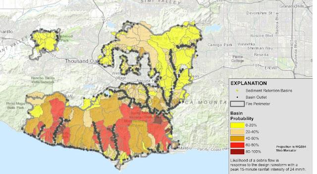 Live Weather Radar Of Woolsey Mudslide Burn Area Risk Map