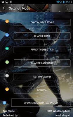 BBM Spiderman Black  Whatsapp Mod