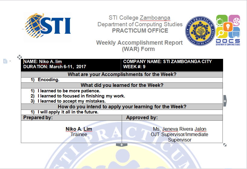 Weekly Accomplishment Report (WAR) Form