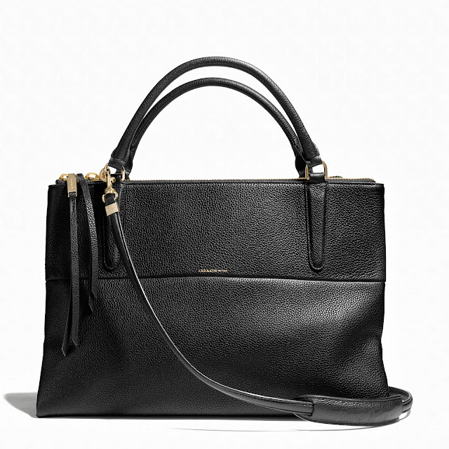 Black Coach Borough Bag in Black Pebbled Leather