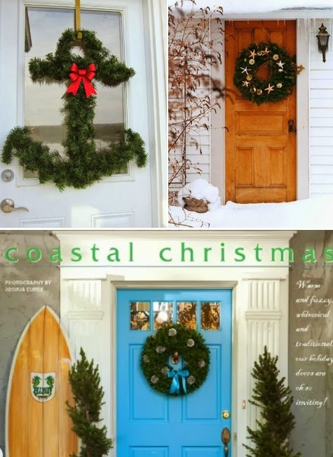coastal Christmas wreaths for the front door