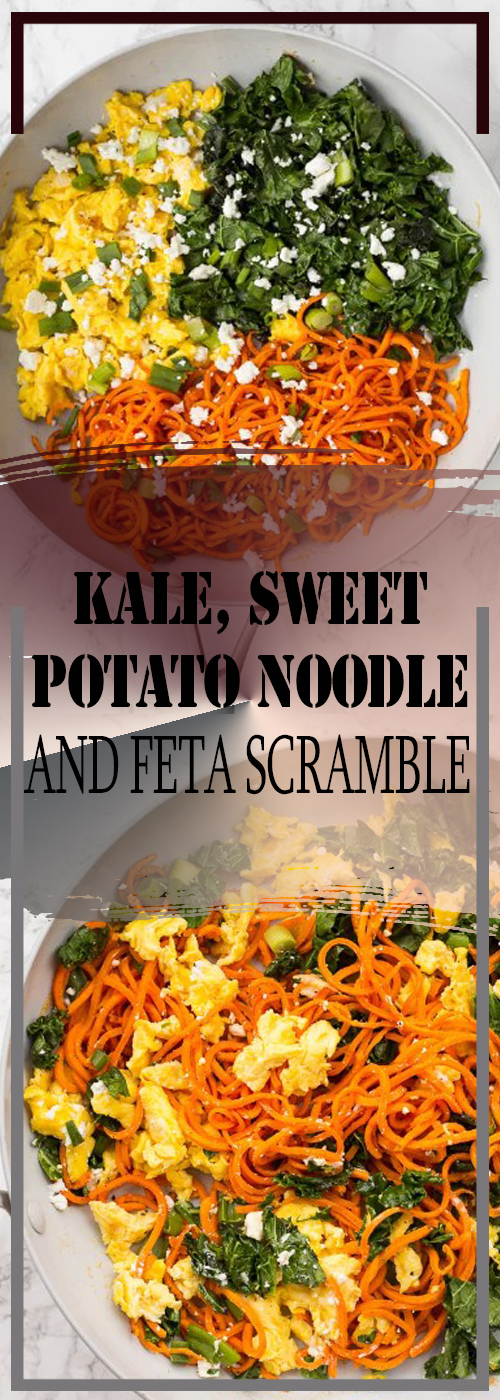 KALE, SWEET POTATO NOODLE, AND FETA SCRAMBLE RECIPE