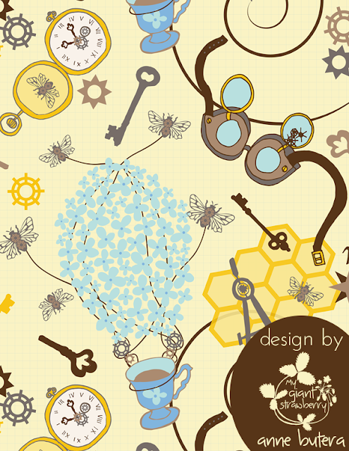 steampunk, surface pattern design, repeat patterns, secret garden, honeybees, Anne Butera, My Giant Strawberry