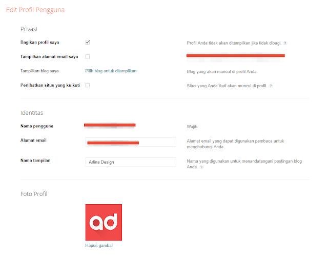 Edit Profil Pengguna Arlina Design