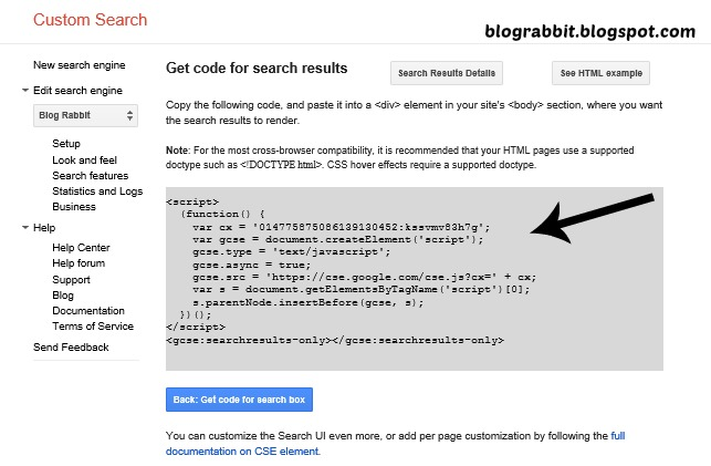 how to create a search engine like google in html