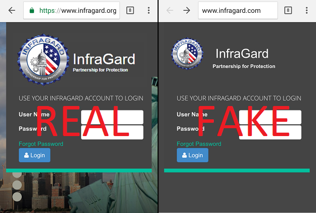 The real and fake InfraGard websites side-by-side