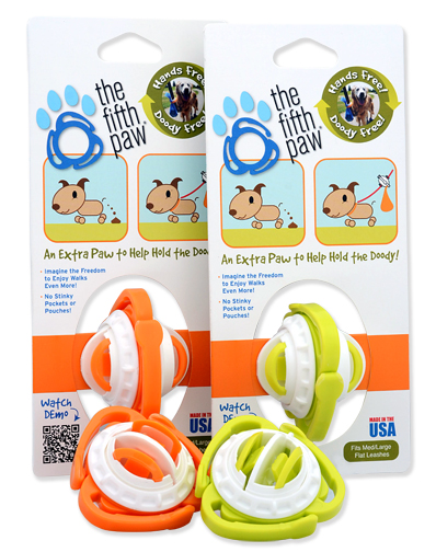 One orange and one green The Fitfh Paw leash attachment