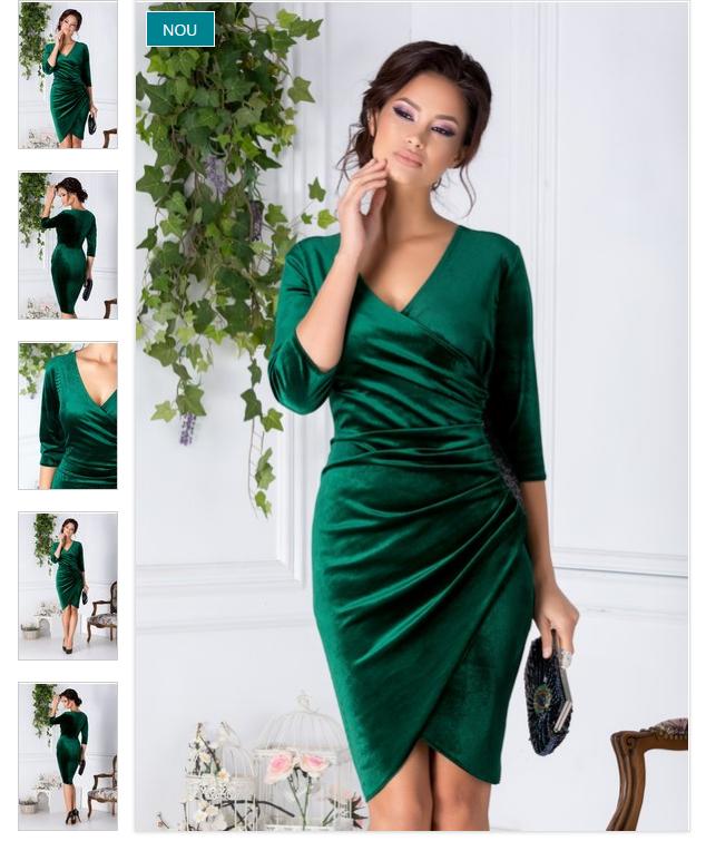 Rochie de ocazii eleganta verde de ocazie din catifea decolteu petrecut in V
