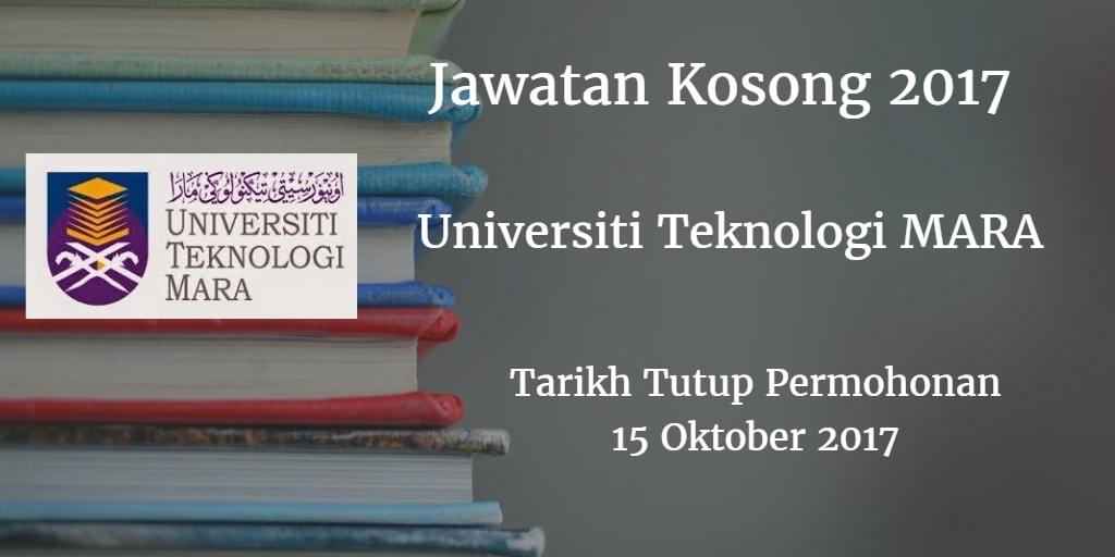 Jawatan Kosong UiTM Cawangan Johor 15 Oktober 2017