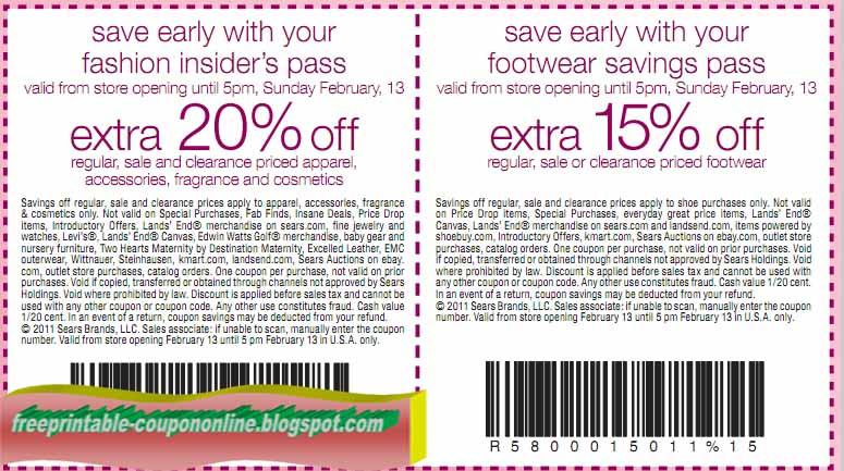 Sears printable coupons april 2018