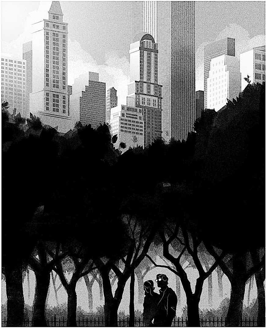 a Matt Taylor silhouette illustration of a couple walking at night in an urban park