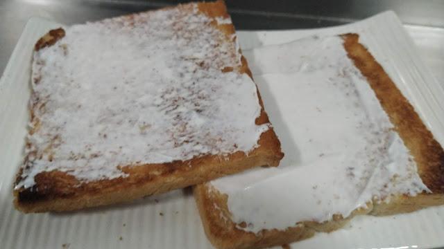 Mayonnaise spread on toasted Bread Food Recipe Dinner ideas