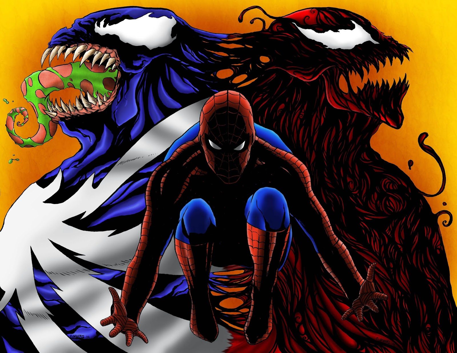 the art of jason flowers: spiderman vs venom vs carnage new print