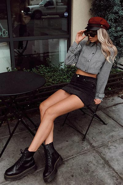 30 Trendy Fall Clothing Ideas for Every Day of Month   Houndstooth Boxy Cropped Jacket