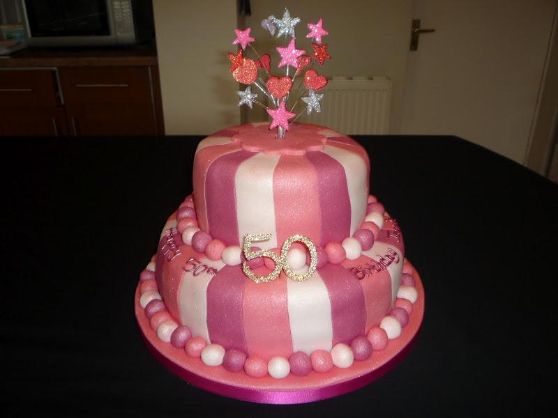 2 Tier Pink Stripey 50th Birthday Cake