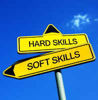 image shows road sign with two directional options: Hard Skills or Soft Skills