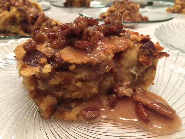 Praline Pretzel Bread Pudding served at a holiday party