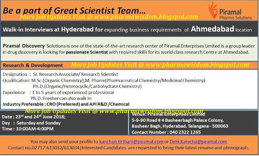 Piramal Pharma Solutions - Walk-In Interviews for Freshers & Exp. Candidates on 23rd & 24th June, 2018 @ Hyderabad