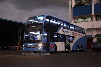Eksterior bus tingkat paradise new armada terbaru