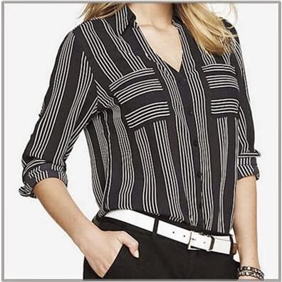 Black portofino shirt with white vertical stripes