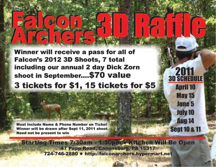 3746df656b6 Here is the schedule for all the 3-D shoots this summer taking place at  Falcon Archers . It s a great group of men and women dedicated to archery