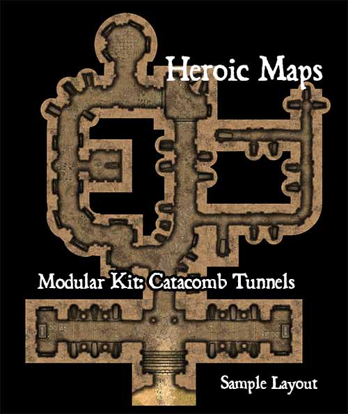 Heroic Maps: New Fantasy Catacomb Chambers and Tunnels Scenery Tiles