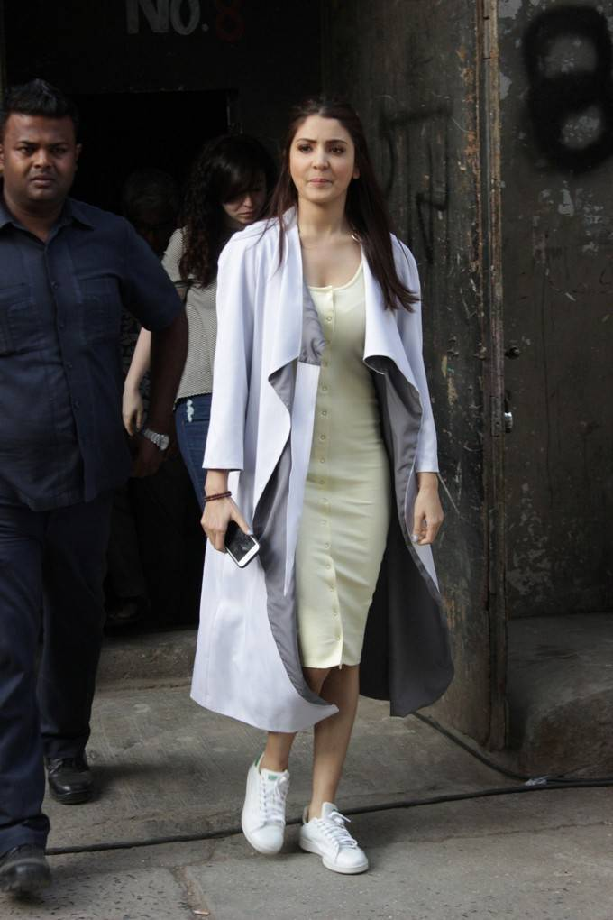 Anushka Sharma Stills In White Dress At New Film Promotion