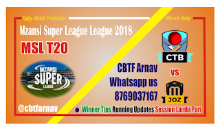 MSL 2018 Today Match Prediction Jozi Stars vs Cape Town Blitz
