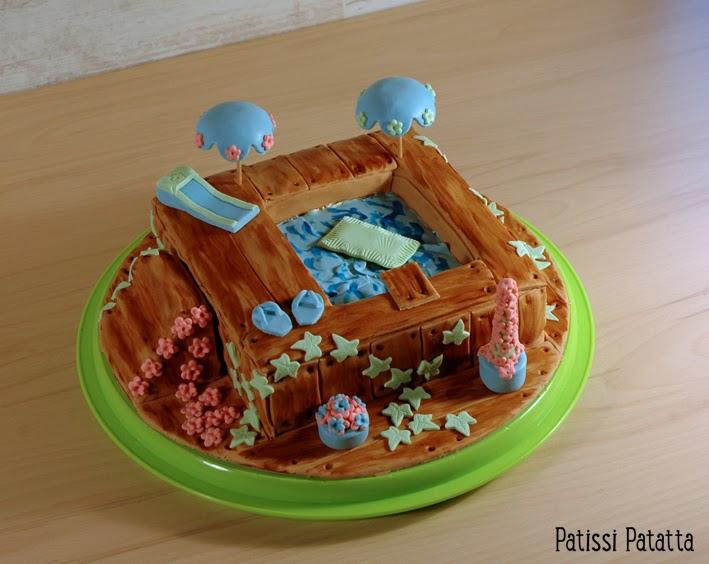 cake design, gâteau 3D, pâte à sucre, gumpaste, fondant, swimming pool cake