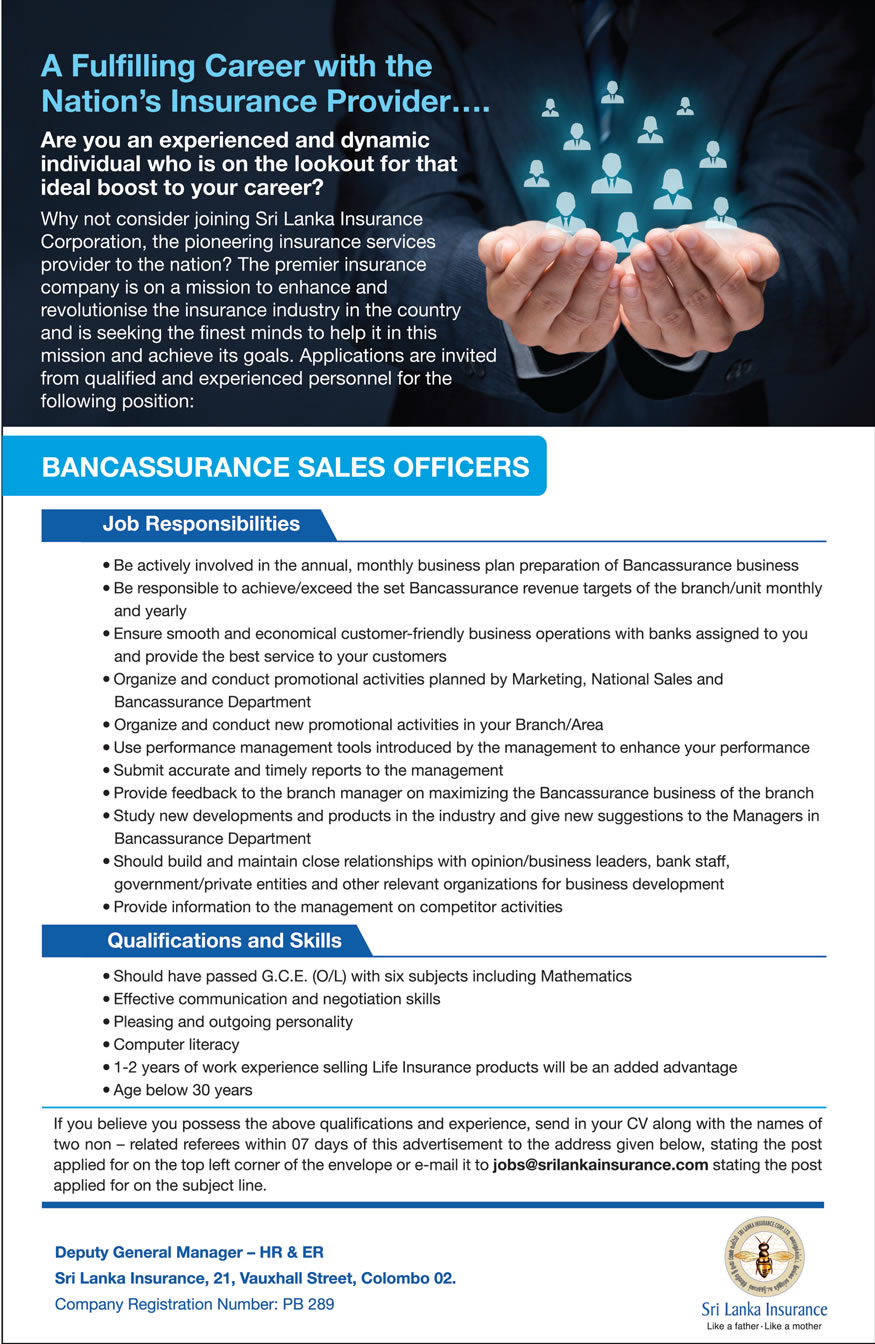 Bancassurance Sales Officers