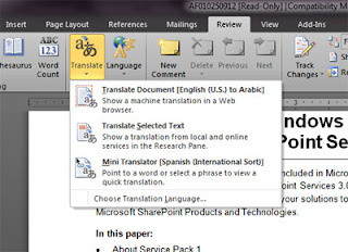 Use Office 2010 to Translate text,Use MS Office 2010 to Translate text,Use MicrosoftOffice 2010 to Translate text