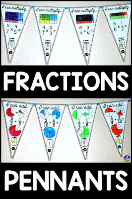 Fraction Pennants for adding subtracting multiplying dividing comparing and converting fractions