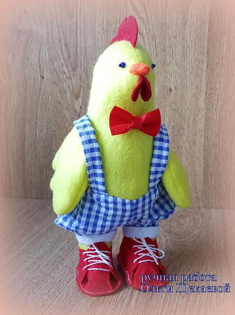 цыплёнок, из флиса, подарок, ручной работы