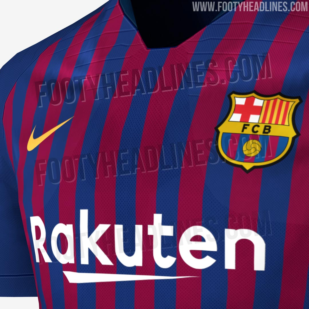 d40014546a0 Barcelona s 18-19 home kit celebrates the 20th anniversary that Nike has  been making the club s kits. The kit therefore features navy details and  navy ...