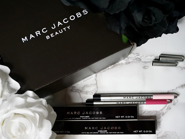 Marc Jacobs beauty Matte Gel Highliners via Influenster packaging and two highliners with their cap off Pink of Me and Pop(ular)