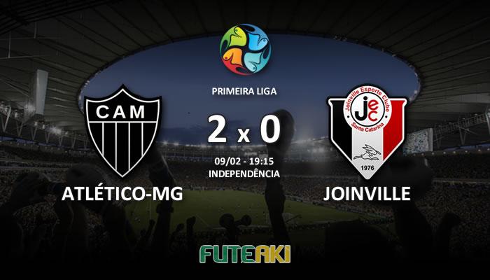 Veja o resumo da partida com os gols e os melhores momentos de Atlético-MG 2x0 Joinville pela Primeira Fase da Primeira Liga 2017.
