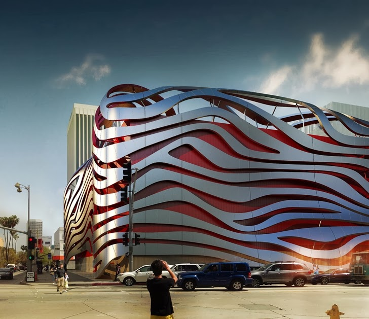 Amazing New Petersen Automotive Museum from the street