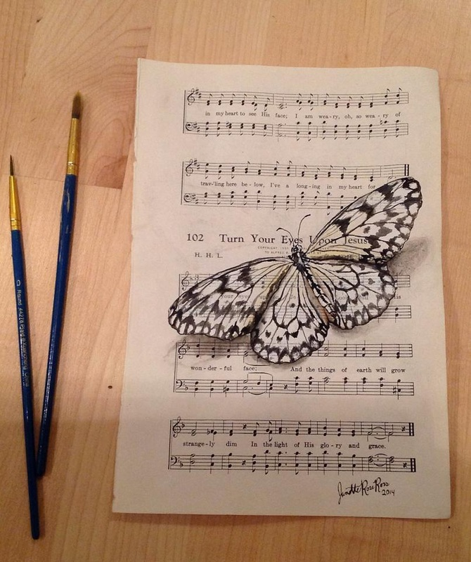 16-Janette-Rose-Painting-on-Leafs-+-Butterfly-Painting-on-Sheet-Music-www-designstack-co