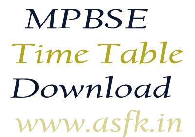 MPBSE 10th Date Sheet