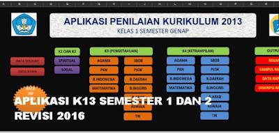 Aplikasi Raport K13 Revisi 2016 Semester 1 dan 2