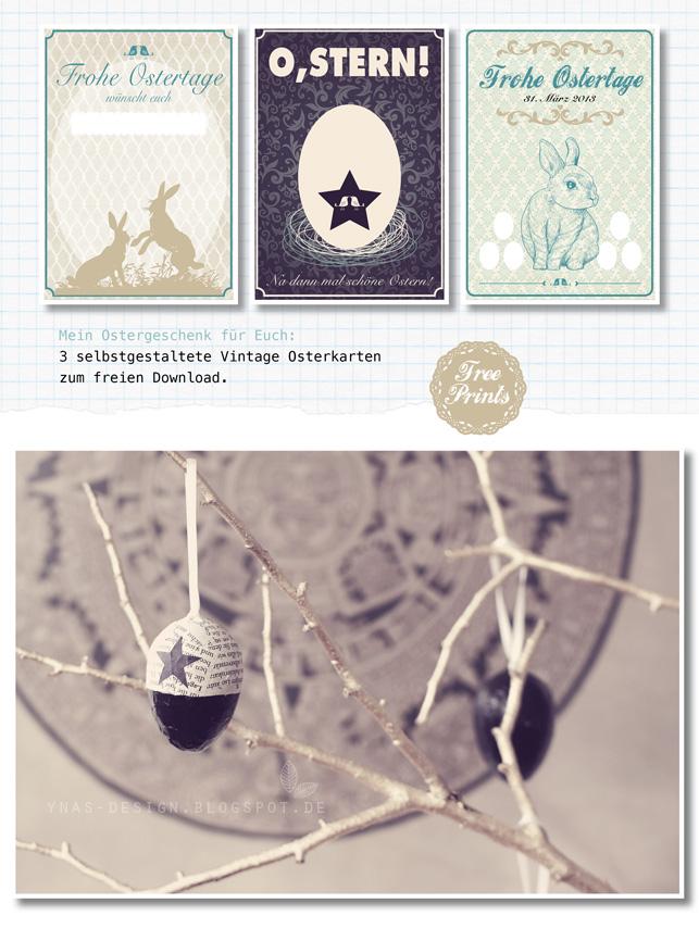 Ynas Osterdeko, Vintage Ostern, Osterkarten