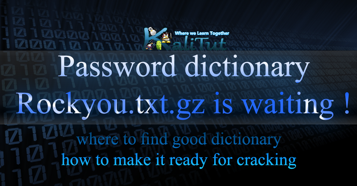 Password dictionary - KaliTut