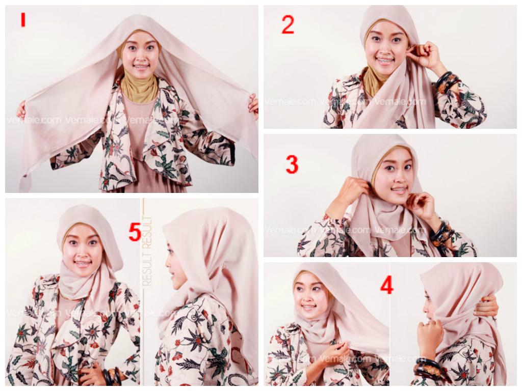 Tutorial Hijab Segi Empat Beserta Gambarnya Tutorial Hijab Paling