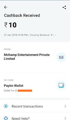 mChamp app paytm proof image