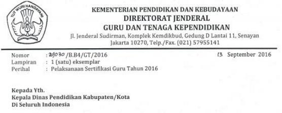 gambar Surat Edaran Pelaksanaan Sertifikasi Guru Tahun 2016