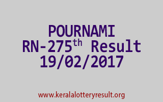 POURNAMI RN 275 Lottery Results 19-02-2017