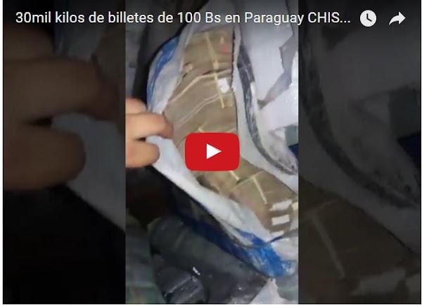 30 mil Kilos de Billetes de 50 y 100 Bs decomisados en Paraguay