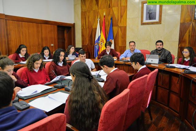 Alumnado del Colegio Santo Domingo de Guzmán plantea mociones sobre becas y medio ambiente al Pleno del Cabildo