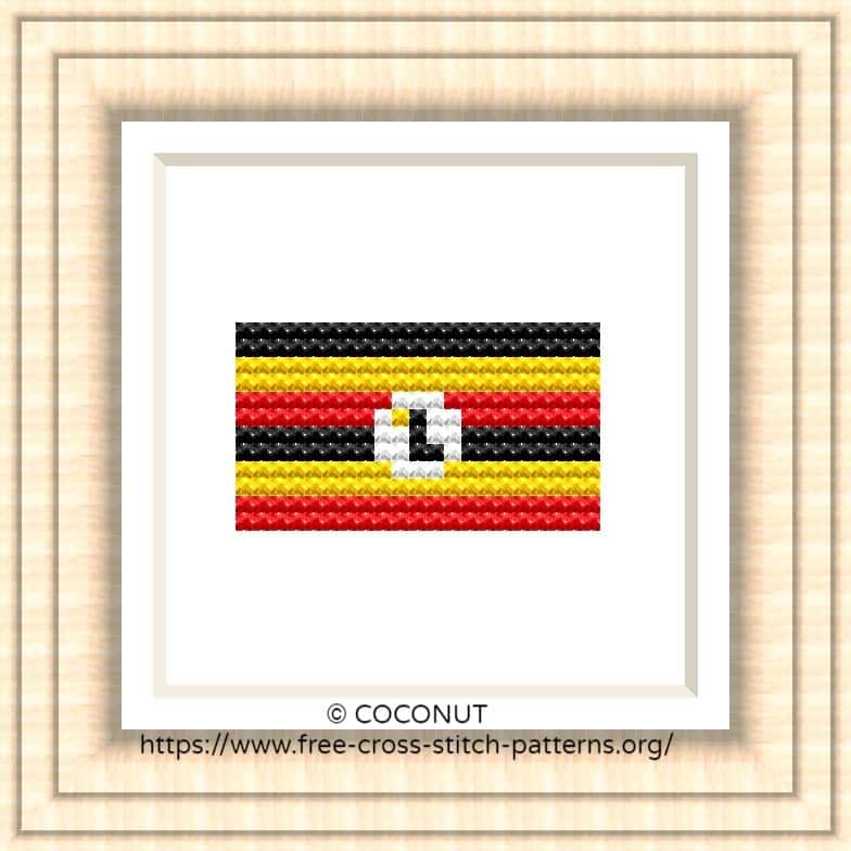 NATIONAL FLAG OF UGANDA CROSS STITCH CHART