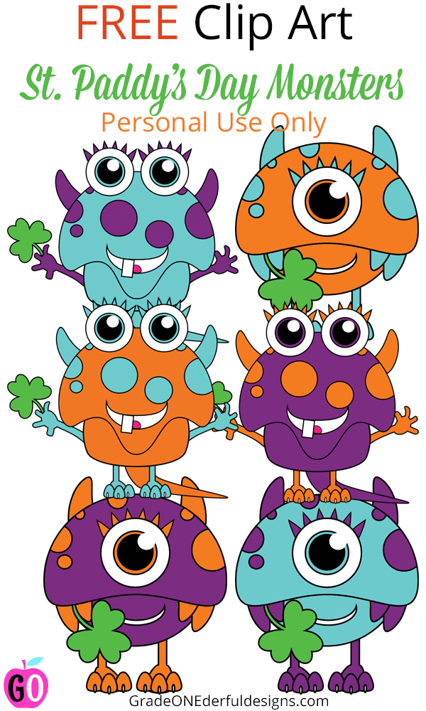 Free St. Patrick's Day clip art. Grab these adorable monsters holding shamrocks! They're perfect for making notes or cards for your kids or students on St. Patrick's Day. #stpatricksday #stpatricksdayclipart #freeclipart #gradeonederful
